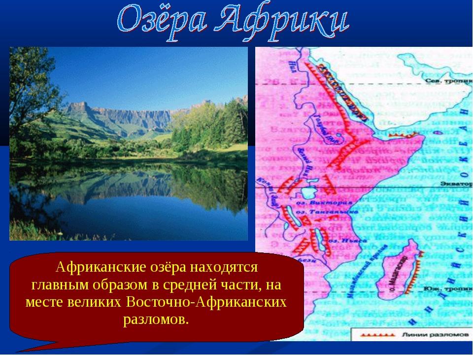 Африканские озёра находятся главным образом в средней части, на месте великих...