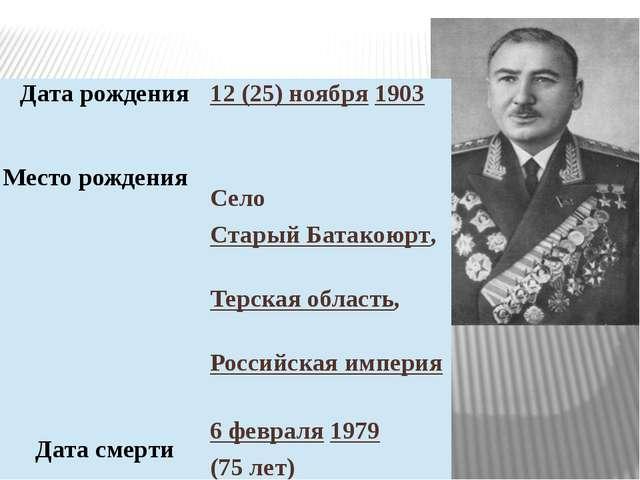 Дата рождения 12 (25) ноября1903 Месторождения Село СтарыйБатакоюрт, Терская...
