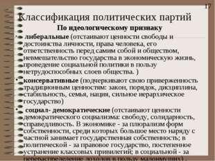 Классификация политических партий По идеологическому признаку либеральные (от
