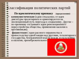 Классификация политических партий По идеологическому признаку (продолжение) к