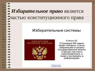 Избирательное правоявляется частью конституционнoгo права 7