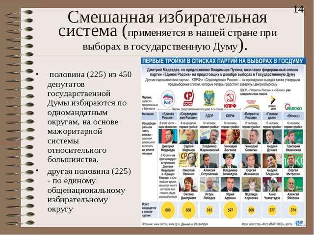 Смешанная избирательная система(применяется в нaшей стране при выборах в гос...