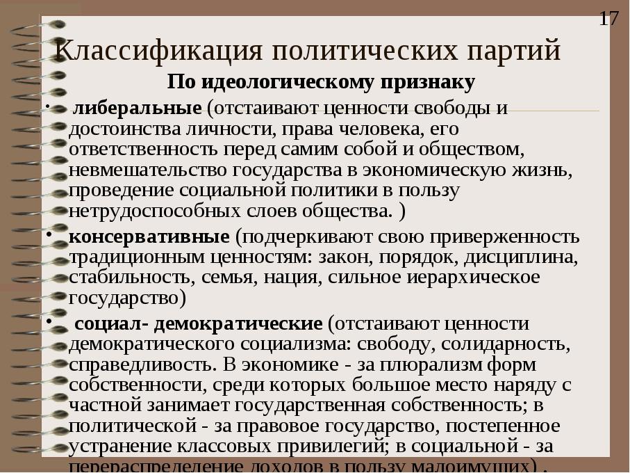 Классификация политических партий По идеологическому признаку либеральные (от...