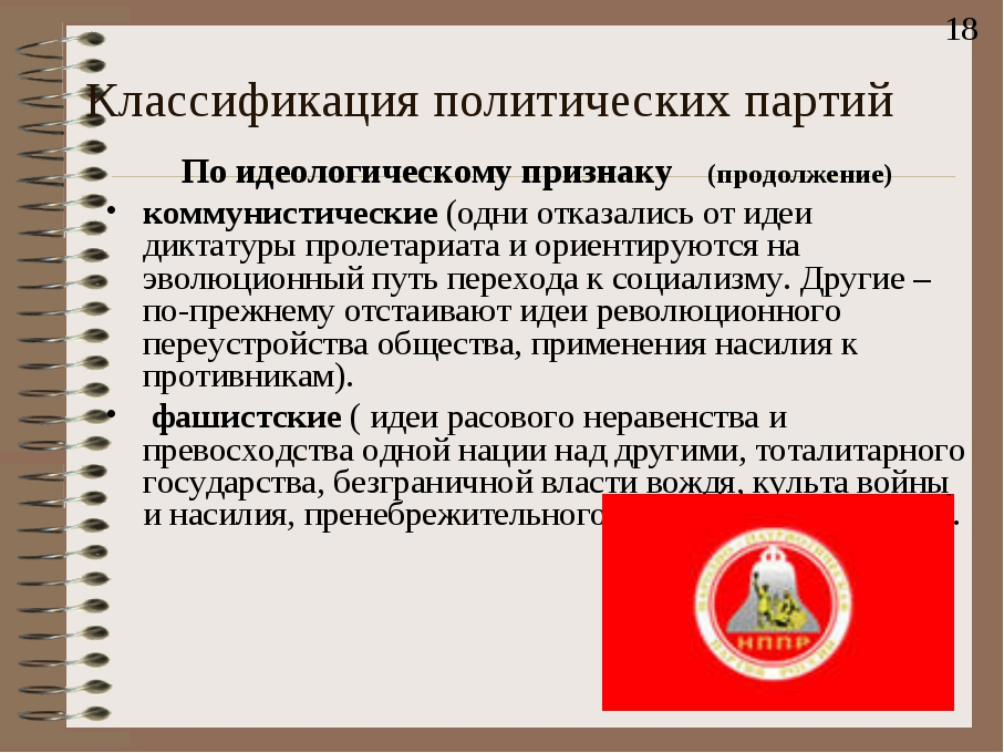 Классификация политических партий По идеологическому признаку (продолжение) к...