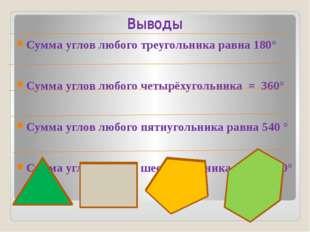 Выводы Сумма углов любого треугольника равна 180° Сумма углов любого четырёху