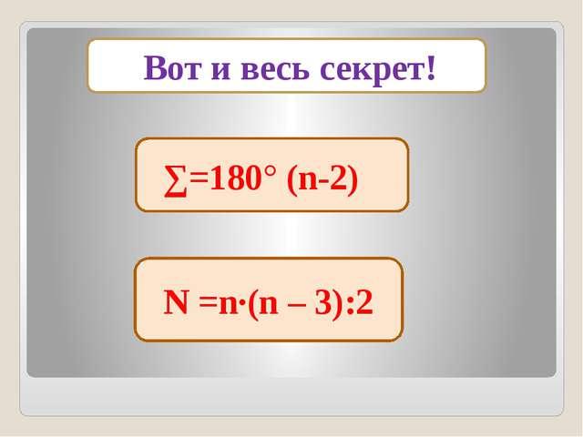 Вот и весь секрет! N =n·(n – 3):2 ∑=180° (n-2)