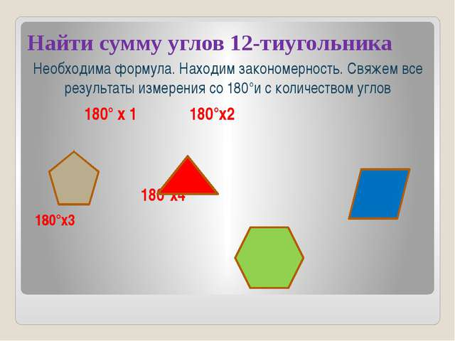 Найти сумму углов 12-тиугольника Необходима формула. Находим закономерность....