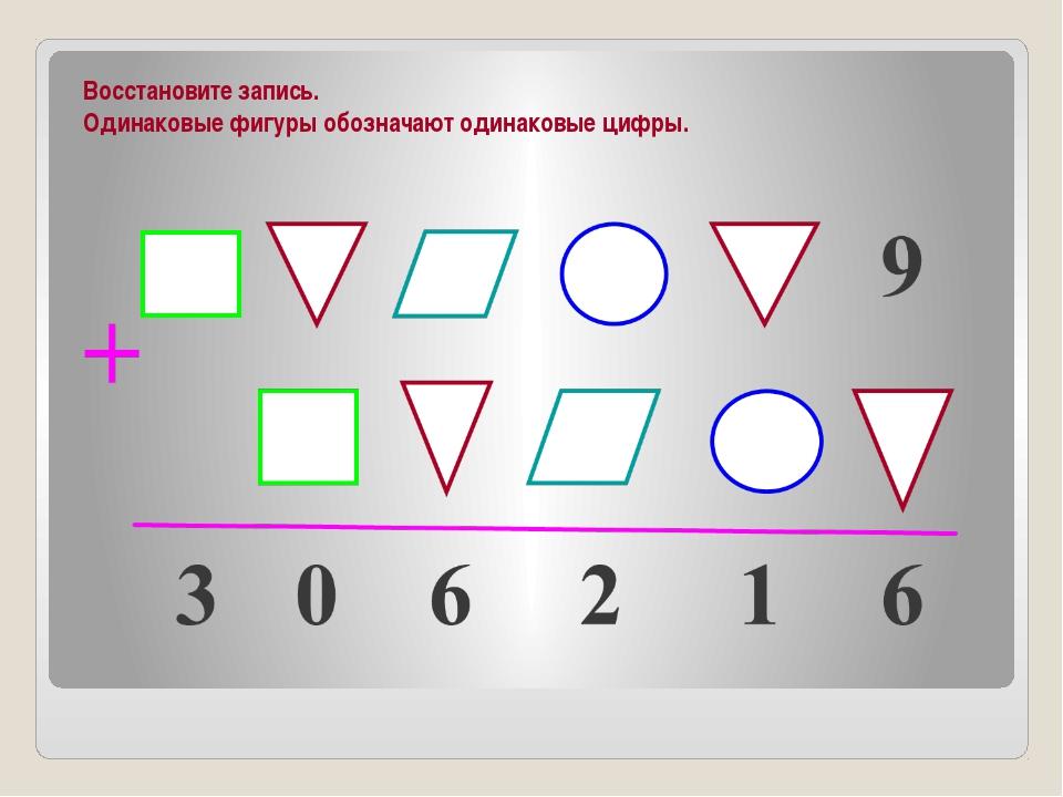 Восстановите запись. Одинаковые фигуры обозначают одинаковые цифры.