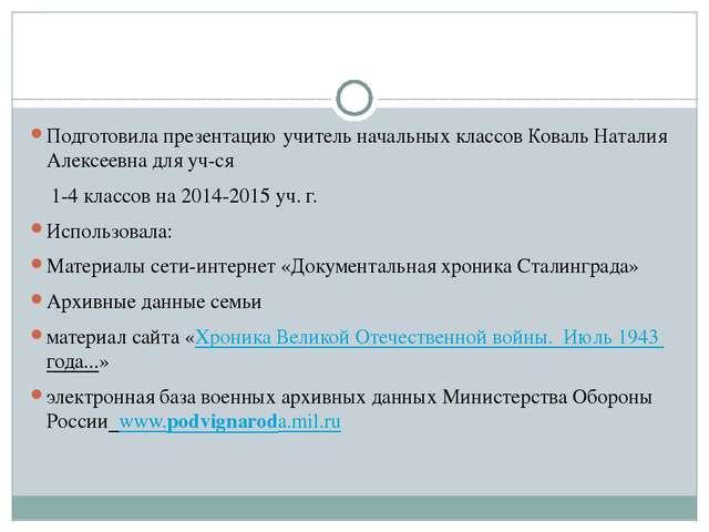 Подготовила презентацию учитель начальных классов Коваль Наталия Алексеевна д...