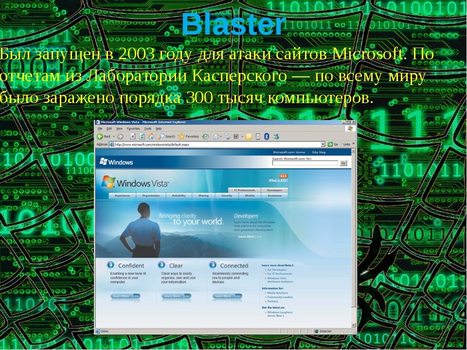 Был запущен в 2003 году для атаки сайтов Microsoft. По отчетам из Лаборатории...
