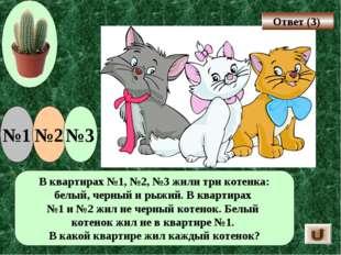В квартирах №1, №2, №3 жили три котенка: белый, черный и рыжий. В квартирах №