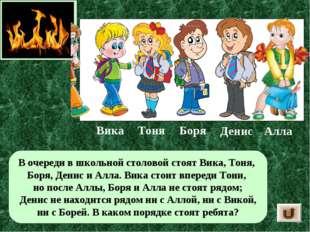 В очереди в школьной столовой стоят Вика, Тоня, Боря, Денис и Алла. Вика стои