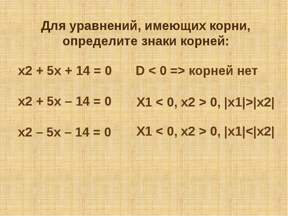 Для уравнений, имеющих корни, определите знаки корней: х2 + 5х + 14 = 0 х2 +...