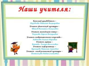 Наши учителя: Классный руководитель – Воробьёва Наталья Викторовна Учитель фи