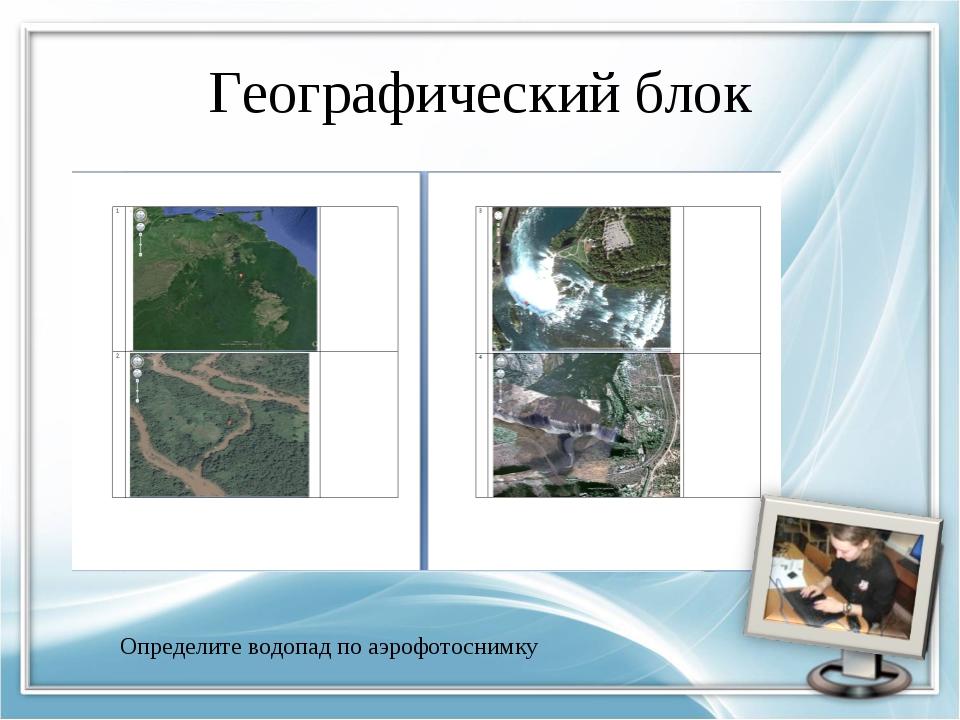 Географический блок Определите водопад по аэрофотоснимку