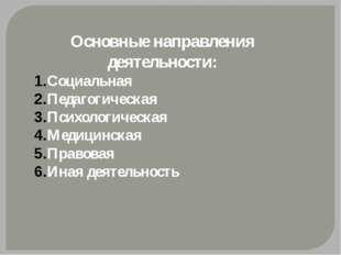 Основные направления деятельности: Социальная Педагогическая Психологическая