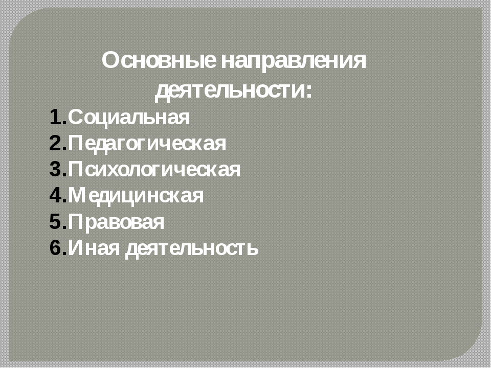 Основные направления деятельности: Социальная Педагогическая Психологическая...