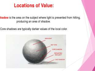 Locations of Value: The core shadow is the area on the subject where light is