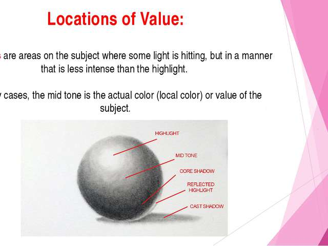 Locations of Value: Mid tones are areas on the subject where some light is hi...