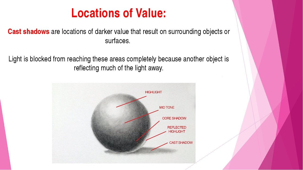 Locations of Value: Cast shadows are locations of darker value that result on...