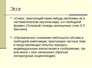 Эссе «Очерк, трактующий какие-нибудь проблемы не в систематическом научном ви