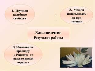 Заключение Результат работы 1. Изучили целебные свойства 2. Можем использова