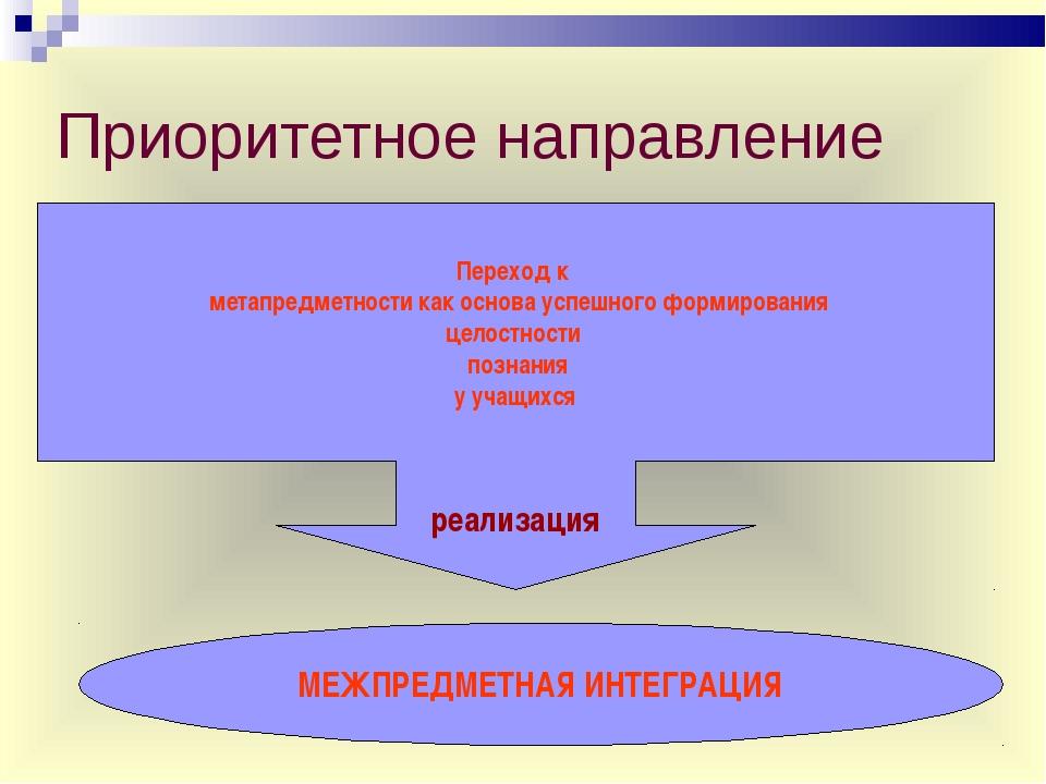 Приоритетное направление Переход к метапредметности как основа успешного форм...