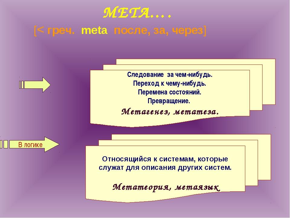 МЕТА…. [< греч. meta после, за, через] В логике Следование за чем-нибудь. Пе...