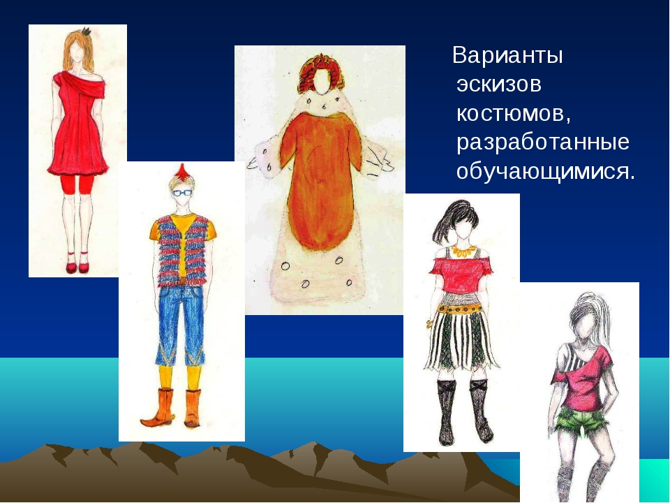 Варианты эскизов костюмов, разработанные обучающимися.