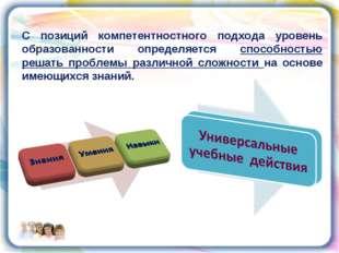 С позиций компетентностного подхода уровень образованности определяется спосо