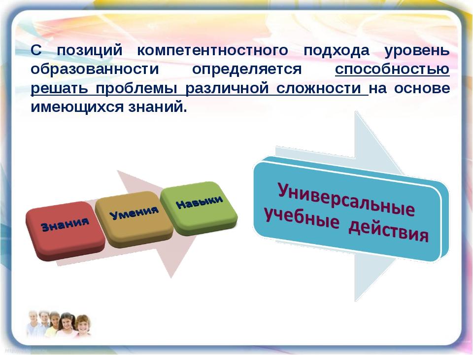 С позиций компетентностного подхода уровень образованности определяется спосо...