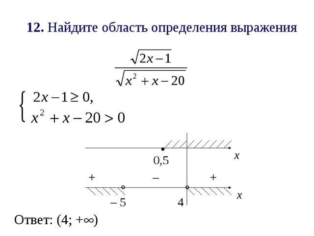 12. Найдите область определения выражения х .   х 0,5 4 – 5 + + – Ответ: (4...
