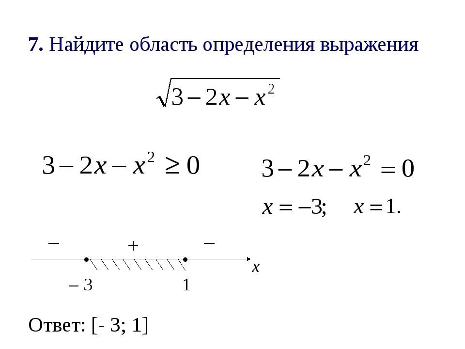 7. Найдите область определения выражения . – 3 . 1 х – – + Ответ: [- 3; 1]