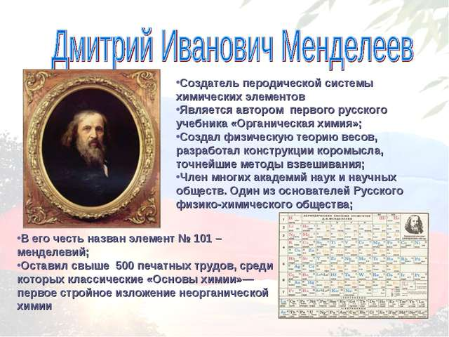 В его честь назван элемент № 101 – менделевий; Оставил свыше 500 печатных тру...