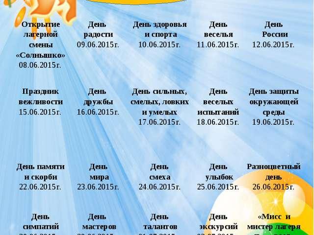 План работы лагеря «Солнышко» Открытие лагерной смены «Солнышко» 08.06.2015г....