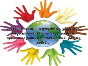 Толерантность – терпимость, уважение, доброжелательность, снисхождение призна