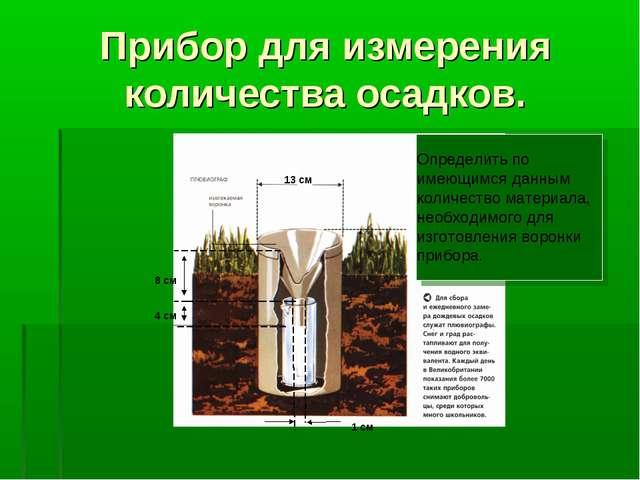 Прибор для измерения количества осадков. Определить по имеющимся данным колич...