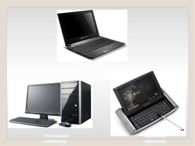 Портативный компьютер Карманный компьютер Настольный компьютер