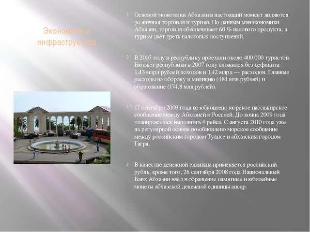 Экономика и инфраструктура Основой экономики Абхазии в настоящий момент являю...