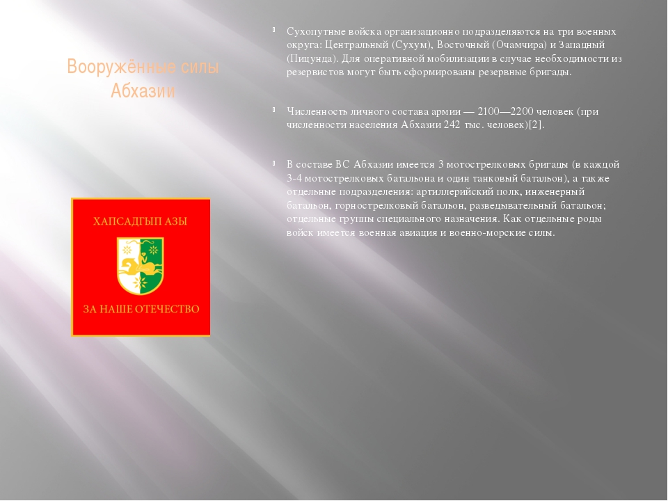 Вооружённые силы Абхазии Сухопутные войска организационно подразделяются на т...