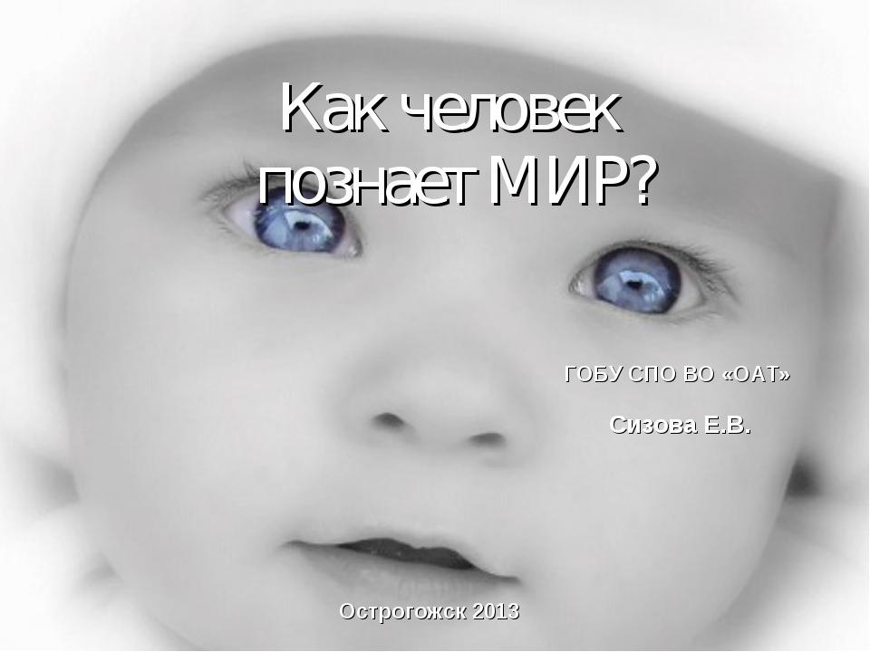 Как человек познает МИР? ГОБУ СПО ВО «ОАТ» Острогожск 2013 Сизова Е.В.