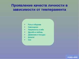 Проявление качеств личности в зависимости от темперамента Роль в общении Само