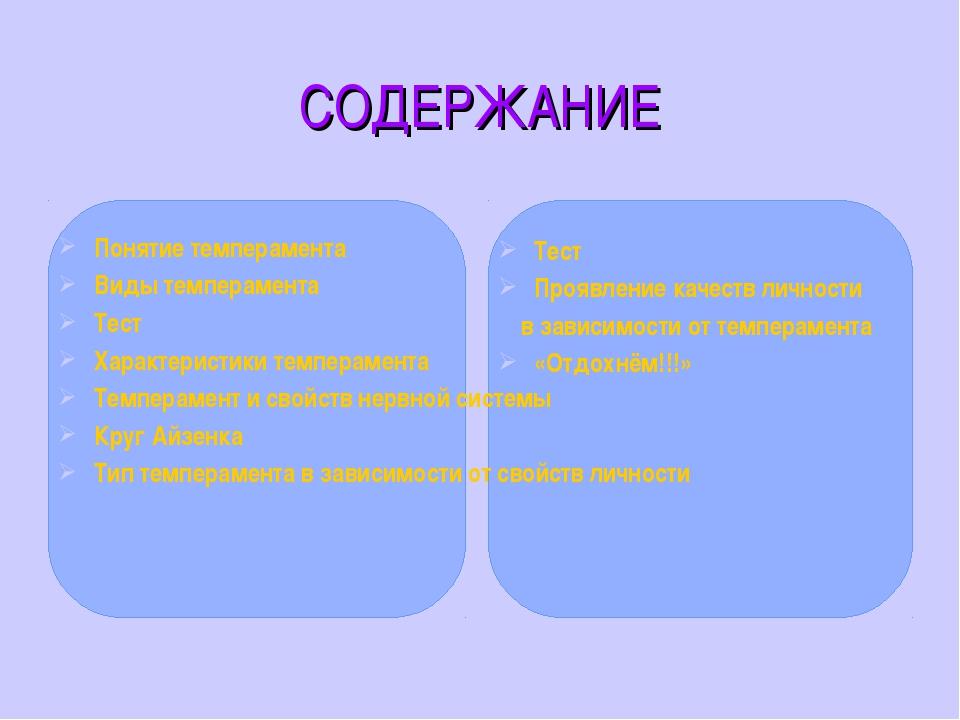 СОДЕРЖАНИЕ Понятие темперамента Виды темперамента Тест Характеристики темпера...