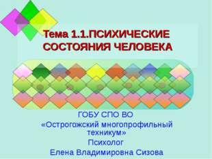 Тема 1.1.ПСИХИЧЕСКИЕ СОСТОЯНИЯ ЧЕЛОВЕКА ГОБУ СПО ВО «Острогожский многопрофил