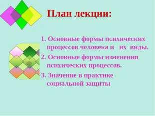 План лекции: 1. Основные формы психических процессов человека и их виды. 2. О