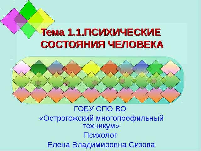 Тема 1.1.ПСИХИЧЕСКИЕ СОСТОЯНИЯ ЧЕЛОВЕКА ГОБУ СПО ВО «Острогожский многопрофил...