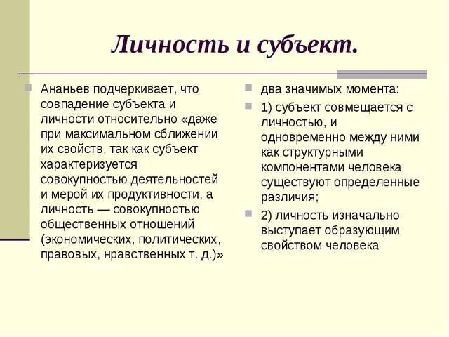 Личность и субъект. Ананьев подчеркивает, что совпадение субъекта и личности...