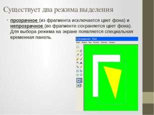 Существует два режима выделения прозрачное (из фрагмента исключается цвет фон