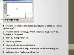 1 – строка заголовка (имя файла рисунка и затем название редактора); 2 – стр