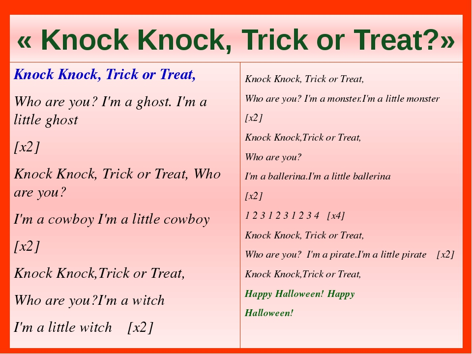 « Knock Knock, Trick or Treat?» Knock Knock, Trick or Treat, Who are you? I'm...